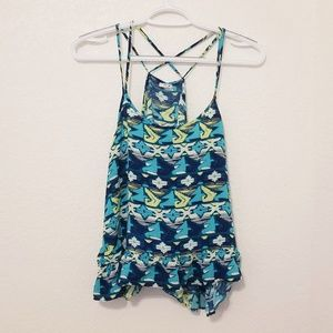 Bright blue and green Aztec print tank top